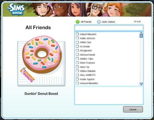 ダンキンドーナツ、「The Sims Social」でプロモーション