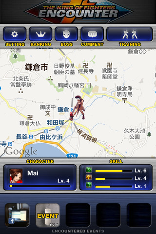 カヤック、位置情報連動型のソーシャルゲーム「THE KING OF FIGHTERS ENCOUNTER」をリリース1