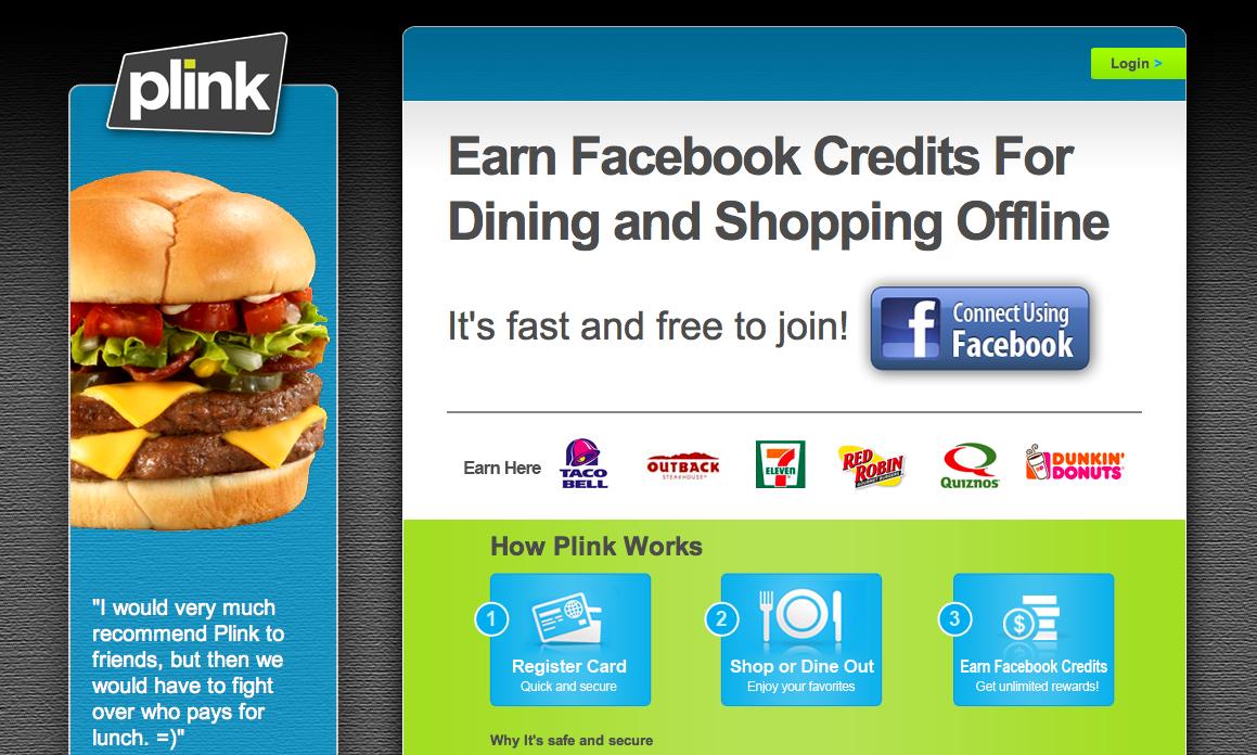 Plink、クレジットカードのポイントをFacebook Creditsでもらうサービスを開始