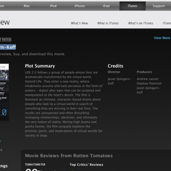 Second Lifeを題材にしたドキュメンタリー映画「Life 2.0」、iTunesにて配信開始