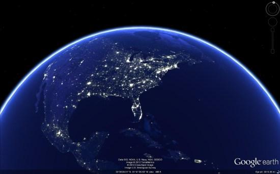 Google Earthで夜の景色を見てみよう
