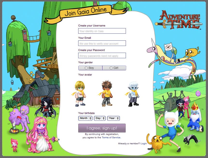米若者向け仮想空間「Gaia Online」、アニメ「Adventure Time」とタイアップ