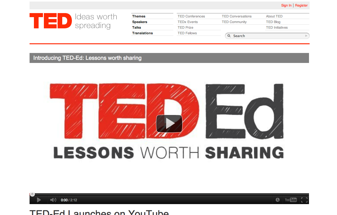 TED、教育向けのYoutubeチャンネルをオープン