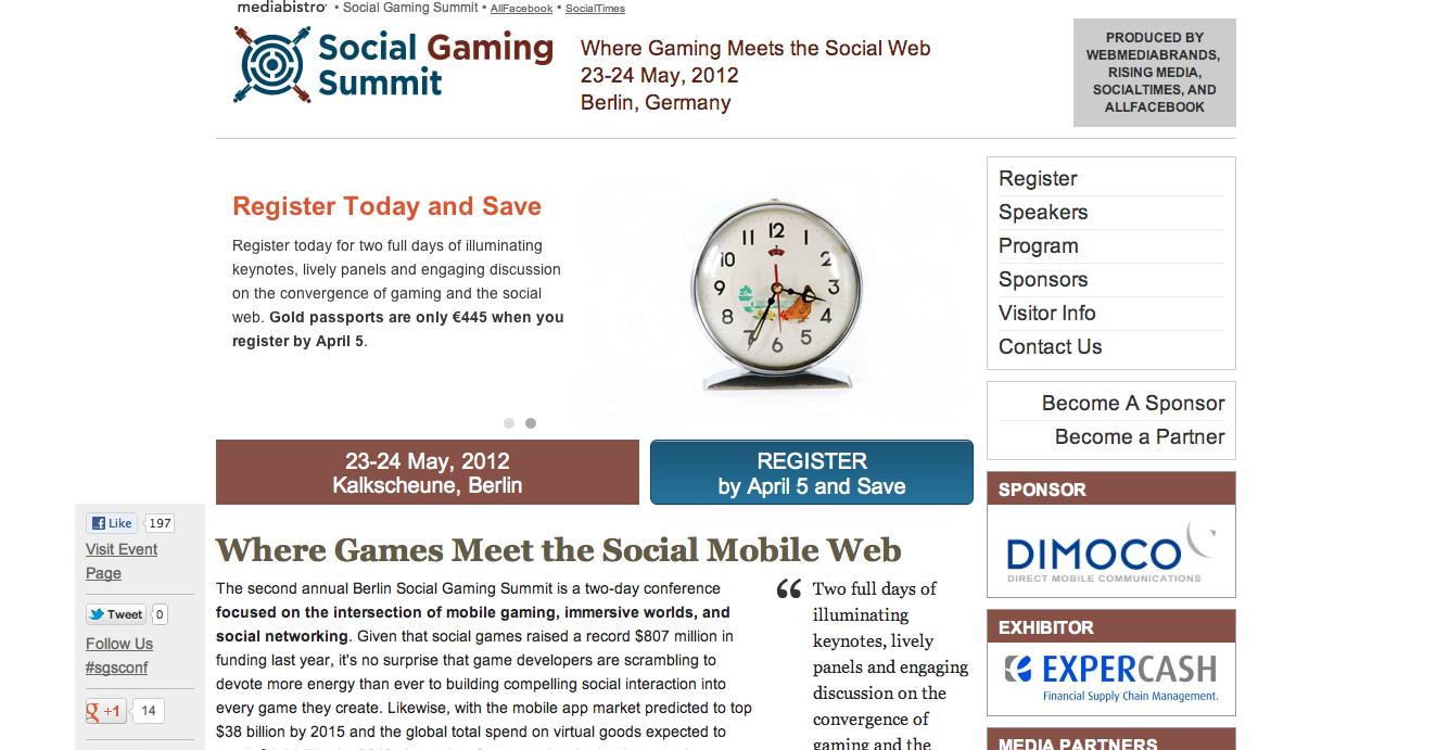 5/23・24、ドイツ・ベルリンにて「Social Gaming Summit」開催
