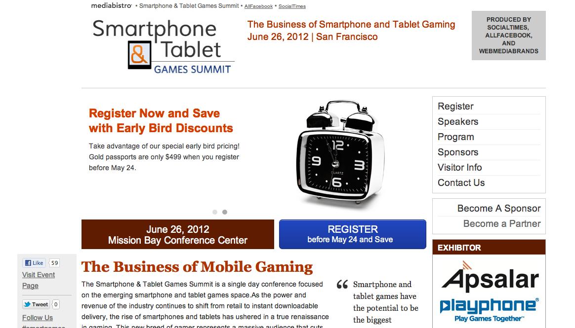 6/26、サンフランシスコにてスマホ&タブレット向けゲームに特化したカンファレンスイベント「Smartphone & Tablet Games Summit」開催