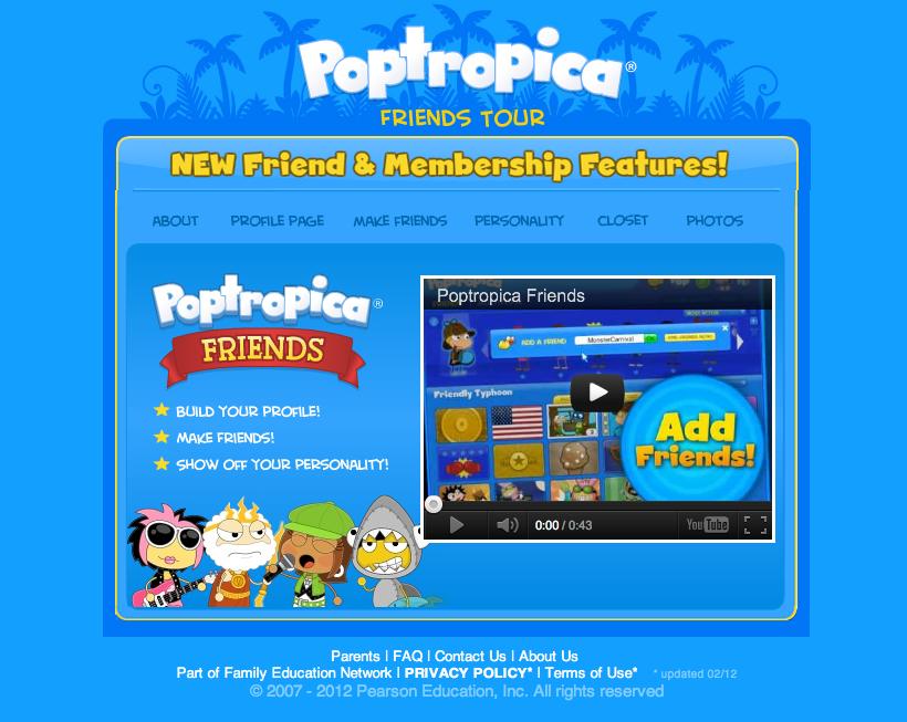 子供向け仮想空間「Poptropica」、SNS「Poptropica Friends」をリリース