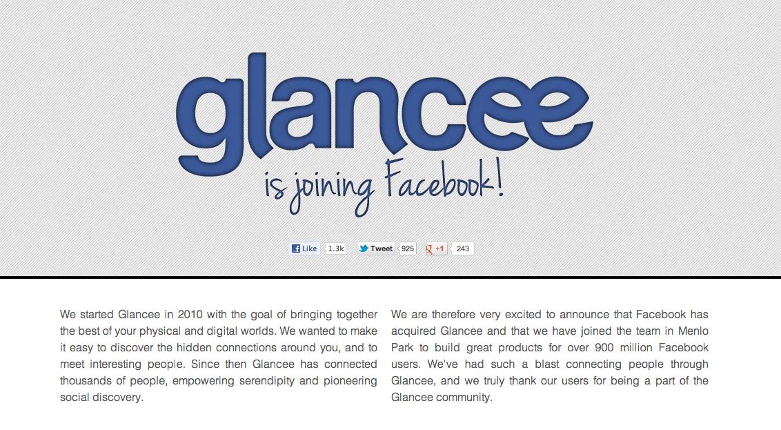 Facebook、スマホ向け出会いアプリ「Glancee」を買収