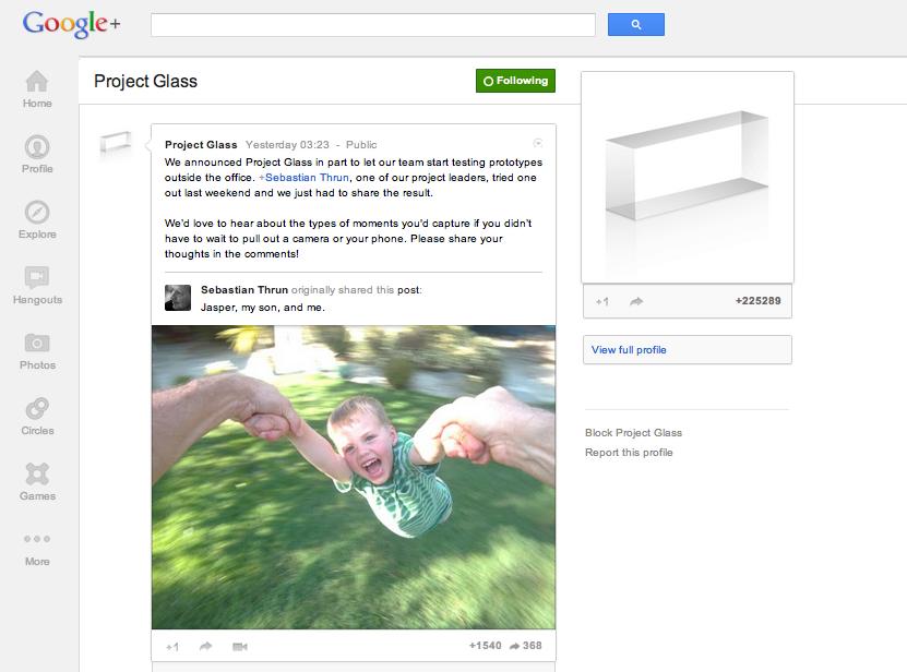 Google、「Google+」にてARメガネで撮影した写真を公開
