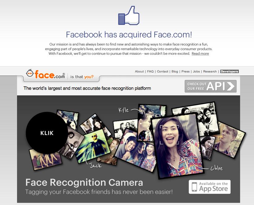 Facebook、顔認識技術のFace.comを買収