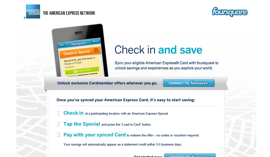 アメリカン・エキスプレスとFoursquare、foursquare、イギリスで位置登録割引サービスを展開