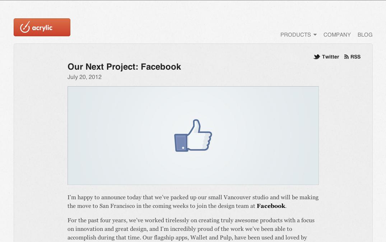Facebook、Mac&iOSアプリ開発のAcrylic Softwareを買収