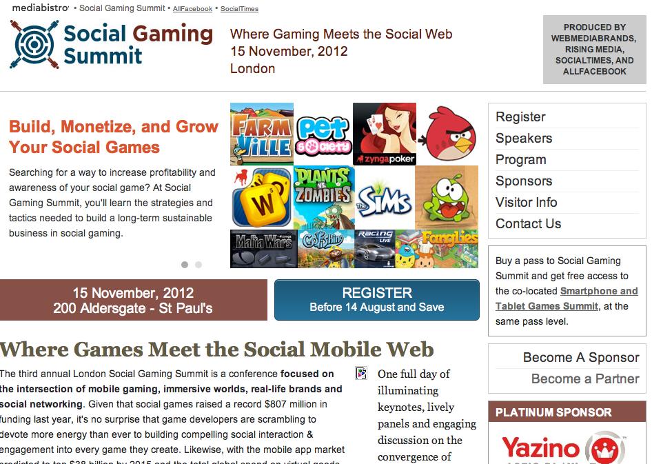 11/15、ロンドンにて「Social Gaming Summit 2012」開催!