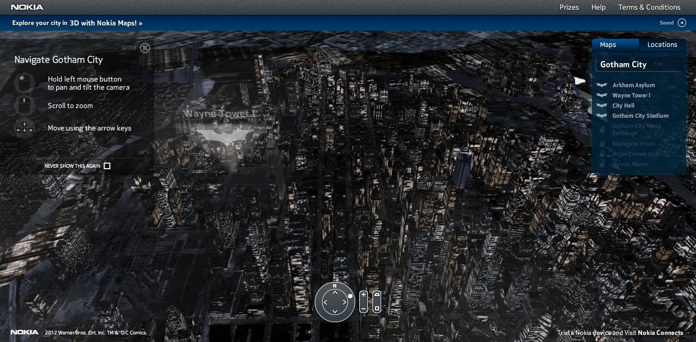"""Nokia、新たな3Dマップの""""見本""""としてバットマンのゴッサムシティを再現"""