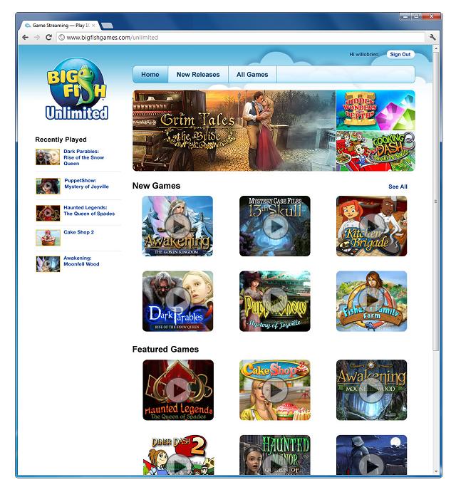カジュアルゲームパブリッシャーのBig Fish Games、クラウド型ゲームストリーミングサービス「Big Fish Unlimited」をリリース1