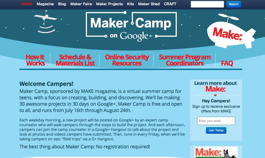 夏休み企画!GoogleとMAKE magazineが全世界の子供向けにヴァーチャルサマーキャンプを開催中