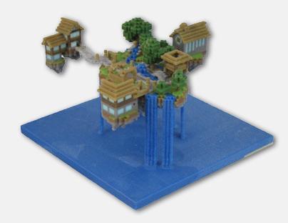 宙に浮いた建物もプリント可能! 3Dプリントフィギュア製作会社のFigurePrints、Minecraft作品のプリントも提供開始1