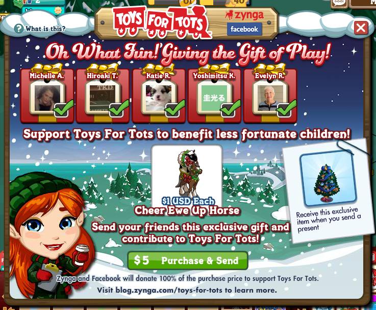 Zynga、子供達に玩具をプレゼントするチャリティ「Toys For Tots」の仮想アイテムを販売中