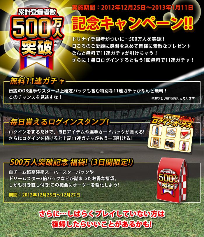 KONAMIの野球ソーシャルゲーム「プロ野球ドリームナイン」、500万ユーザー突破!