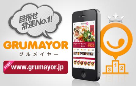 サイバーエージェント、お気に入り飲食店へのチェックイン回数を競うスマホ向けソーシャルグルメサービス「GRUMAYOR(グルメイヤー)」をリリース1