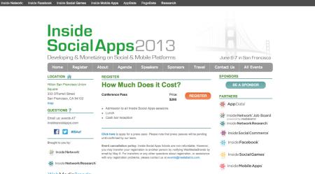 6/6〜6/7、米サンフランシスコにてカンファレンスイベント「Inside Social Apps 2013」開催
