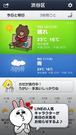 LINEキャラが毎日の天気を教えてくれる! NHN Jpana、天気予報・災害情報アプリ「LINE天気」をリリース2