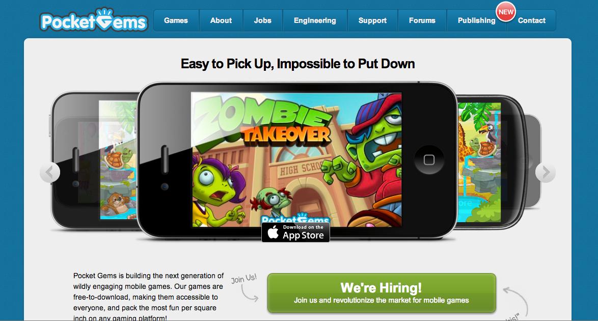 米スマホ向けソーシャルゲームディベロッパーのPocket Gems、ゲームアプリの総ダウンロード数が1億件を突破!