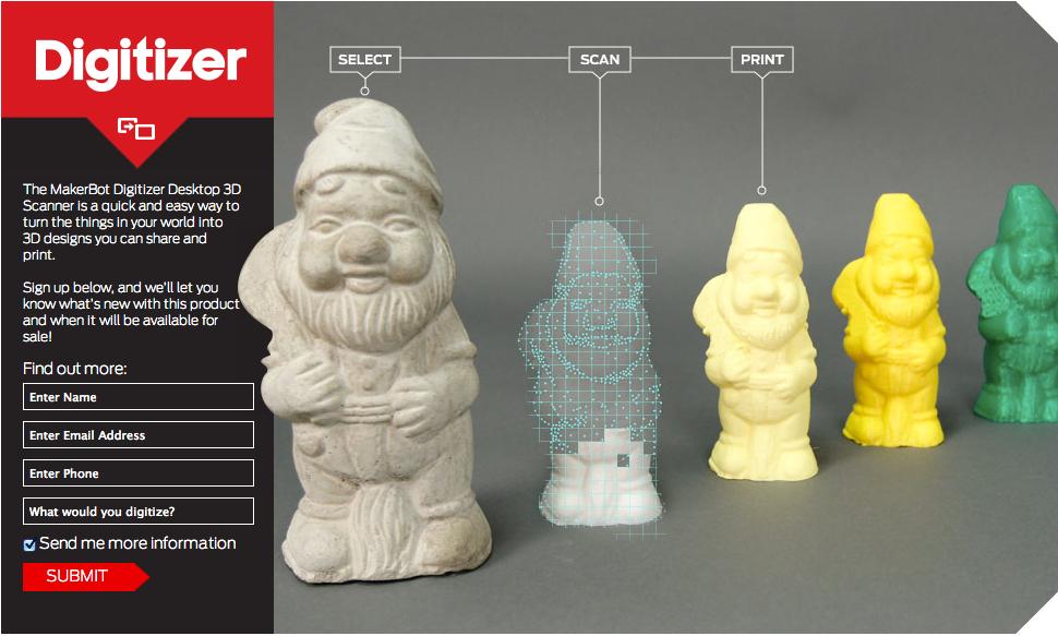 3DプリンタメーカーのMakerBot、今後は3Dプリンタだけでなくデスクトップ型3Dスキャナも提供へ1