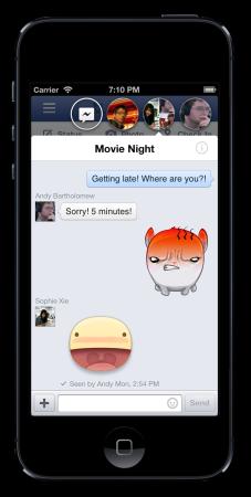 iOS版Facebook、アップデートでLINEっぽいスタンプ機能「Sticker」を追加2