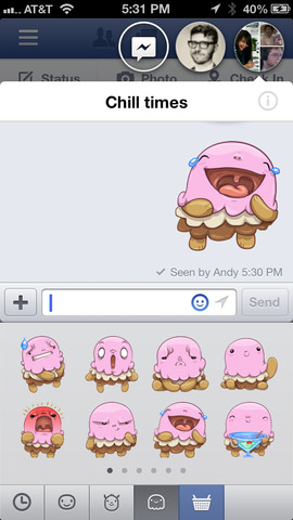 iOS版Facebook、アップデートでLINEっぽいスタンプ機能「Sticker」を追加1