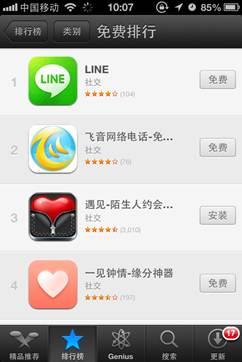 LINE、遂に中国App Storeの無料アプリランキングでも1位を獲得!