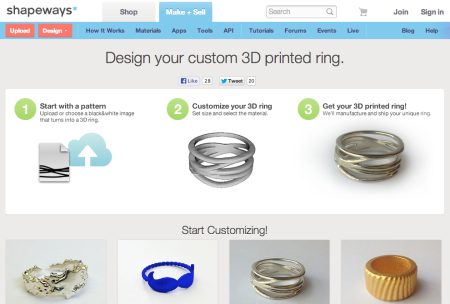 3DプリントサービスのShapeways、簡単にオリジナル指輪が作れるサービスを開始