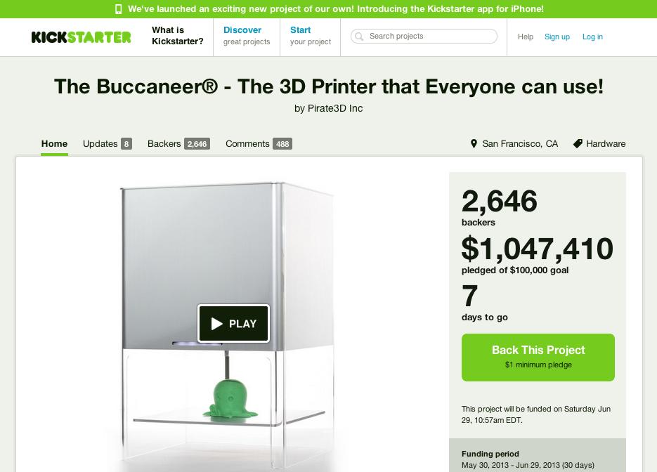 シンガポールのPirate3D、Kickstarterにて激安3Dプリンタの開発資金100万ドルを収集