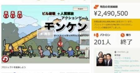 インディーズゲーム開発プロジェクト「モンケン」、マイクロパトロンプラットフォーム「CAMPFIRE」にて資金調達成功