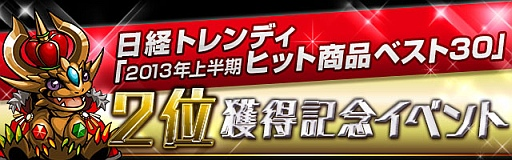 ガンホーのスマホ向けパズルRPG「パズル&ドラゴンズ」、日経トレンディのヒット商品ランキングで第2位を獲得1