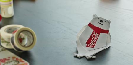 折り紙が動き出す コカ・コーラ、「ポーラーベア 折り紙マジックAR」を公開中