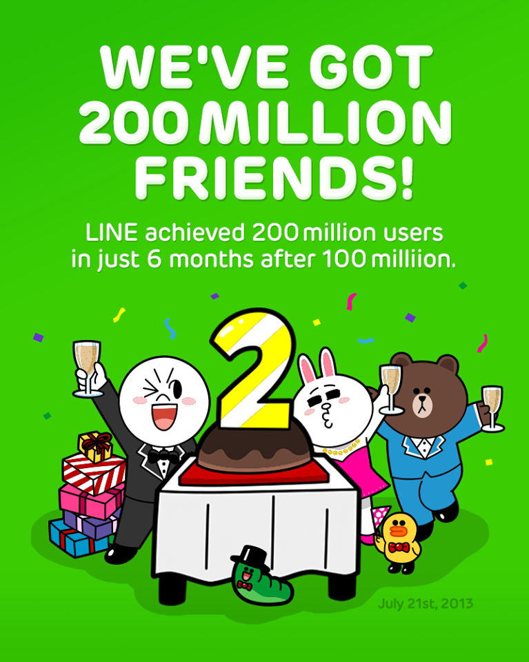 LINEのユーザー数が2億人を突破 1億人突破から約半年で達成