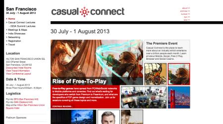 米サンフランシスコにて開催される「Casual Connect USA 2013」の取材のため更新が停滞します