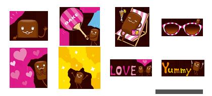 森永の「焼きチョコベイク」のキャラクター「ベイクちゃん」のスタンプが期間限定でLINE cameraに登場1