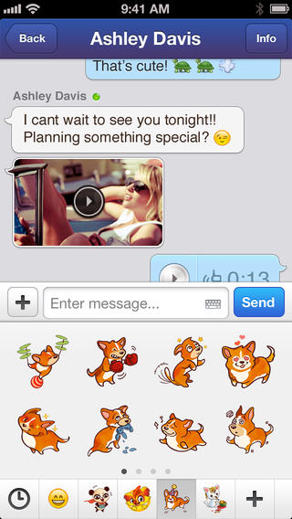 アメリカのスマホ向けメッセージングアプリ「MessageMe」、iOS版にスタンプ機能を追加1