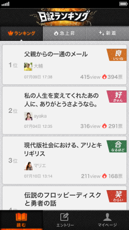mixi、各種サービスをスマホアプリ化 日記をランキング化した「激闘!日記ランキング」などをリリース3