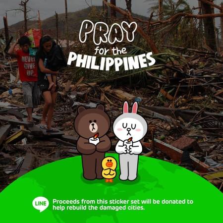 LINE、台風30号によるフィリピンの被災者支援スタンプ「Pray for the Philippines」を全世界で提供開始