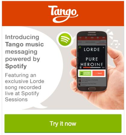 米スマホ向けメッセージングアプリ「Tango」、音楽ストリーミングのSpotifyと提携