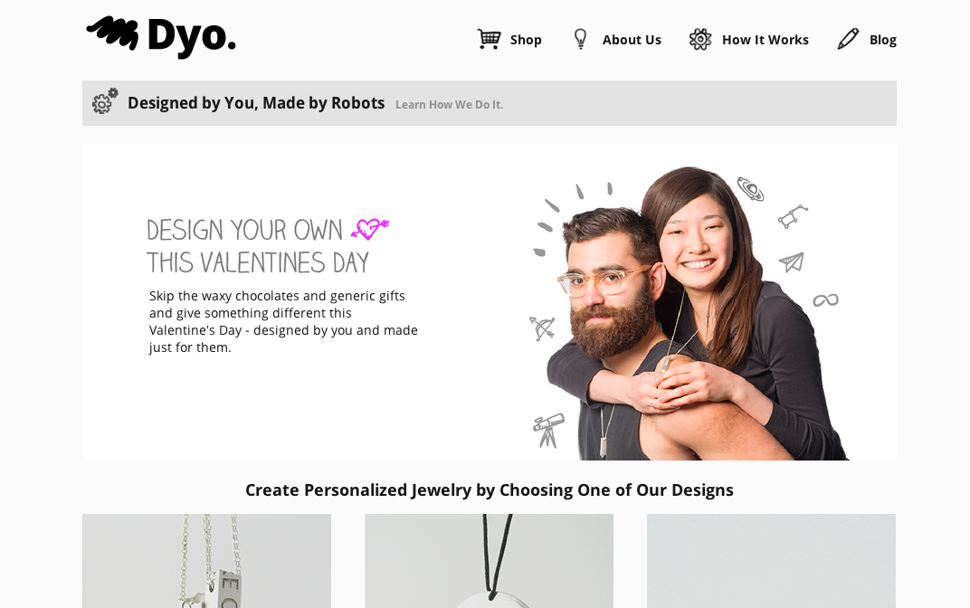 バレンタインデーに3Dプリンタ製のアクセサリーをプレゼントしよう! MITがアクセサリー製作サービス「Dyo」をオープン