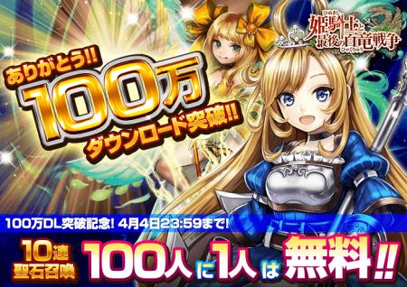 カヤックの快感カウンターバトルRPG「姫騎士と最後の百竜戦争」、100万ダウンロードを突破1
