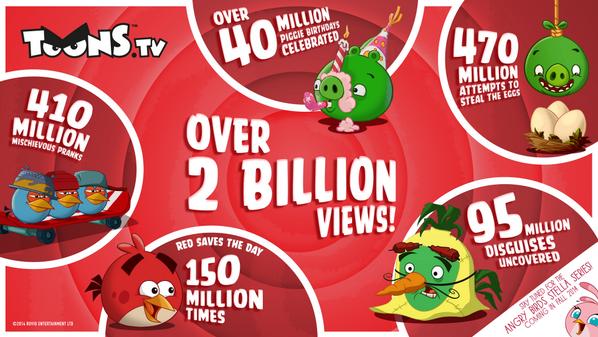 Angry Birdsのアニメシリーズ「Angry Birds Toons」、視聴回数が20億回を突破