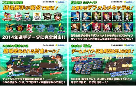 モブキャスト、3D本格プロ野球シミュレーションゲーム 「激闘!ぼくらのプロ野球!」2014年度版をリリース2