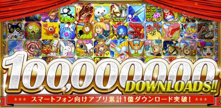 コロプラのスマホ向けゲームアプリが遂に累計1億ダウンロードを突破! 「クイズRPG 魔法使いと黒猫のウィズ」は2700万ダウンロードを突破