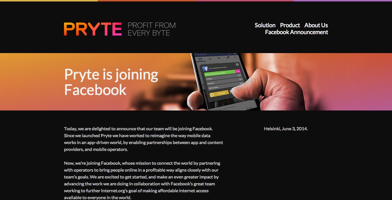 Facebook、フィンランドのモバイルデータ企業のPryteを買収