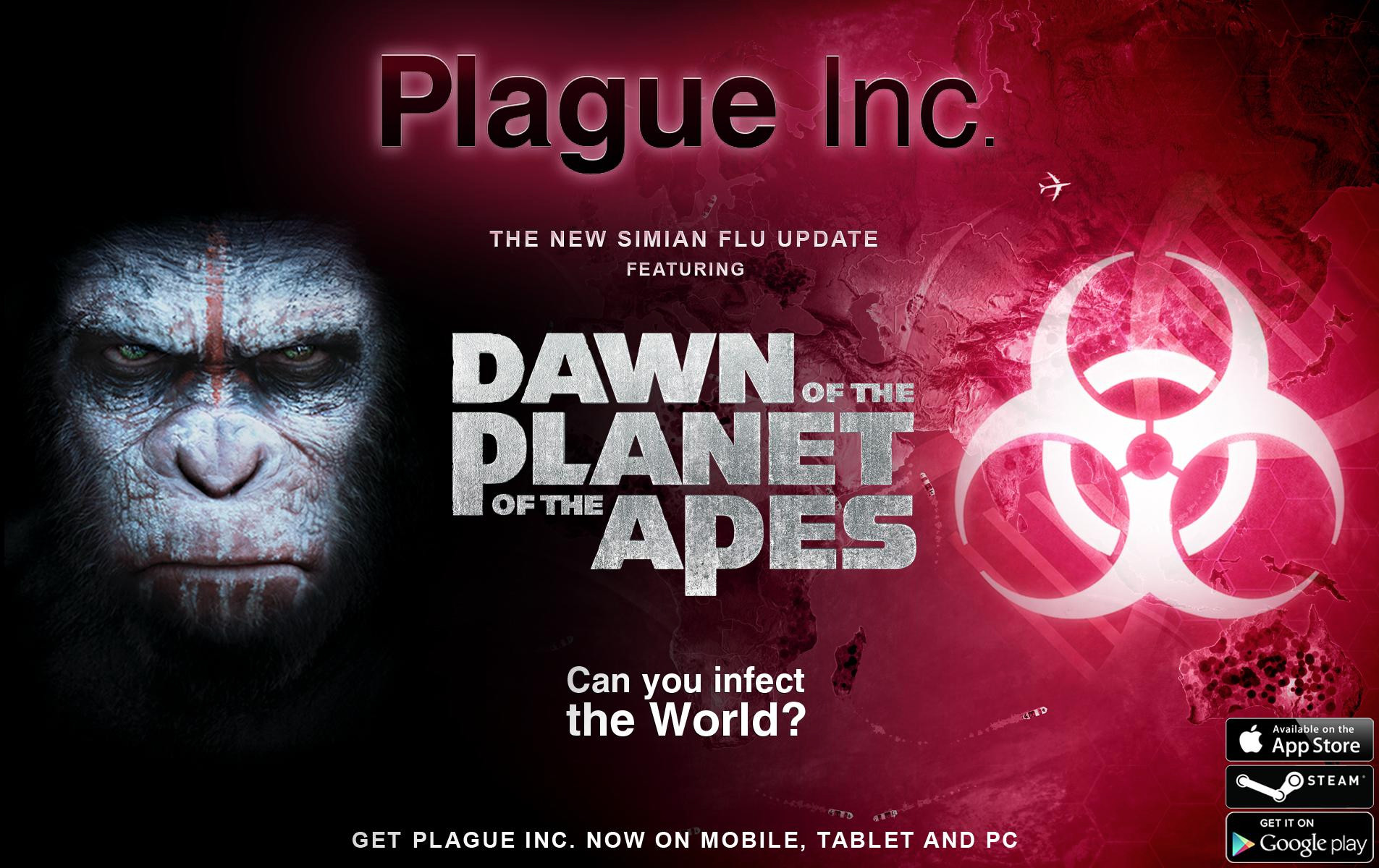 スマホ向け伝染病感染シミュレーションゲーム「Plague Inc. -伝染病株式会社-」、映画「DAWN OF THE PLANET OF THE APES」とコラボ1