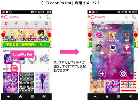 ユナイテッド、スマホのホーム画面常駐型のアイコン格納フォルダ 「CocoPPa Pot」をAndroid版限定で提供開始